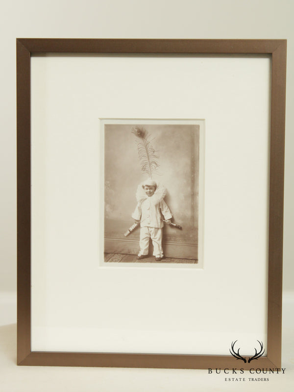 "Custom Framed 19th Century French Real Photo Postcard ""Little Performer"""
