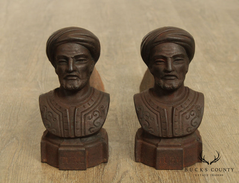 Antique 19th Century French Pair Small Figural Turkish Bust Andirons