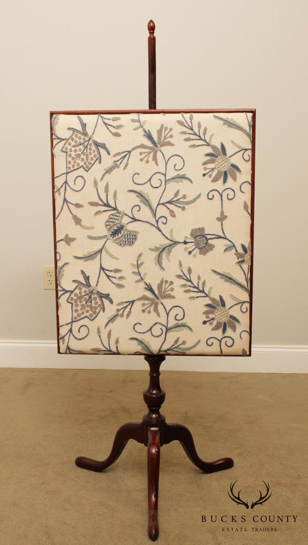Custom Mahogany Queen Anne Crewel Embroidered Fire Screen