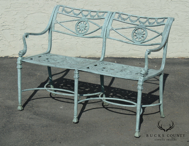 Neo-Classical Style Cast Aluminum Dolphin Arm Garden Settee