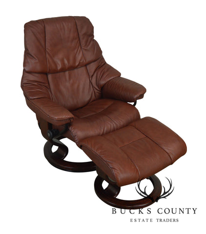 Ekornes Stressless Brown Leather Recliner with Ottoman