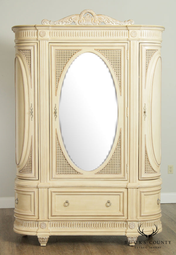 Pulaski French Louis XVI Style Cream Painted Mirror Door Armoire