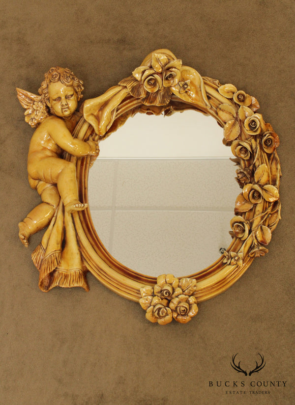 Italian Renaissance Style Glazed Ceramic Wall Mirror with Cherub & Flowers