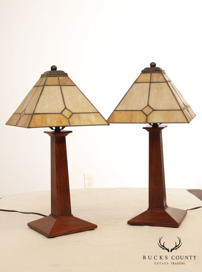 Stickley Mission Collection Pair Small Lamps, Art Deco Shades