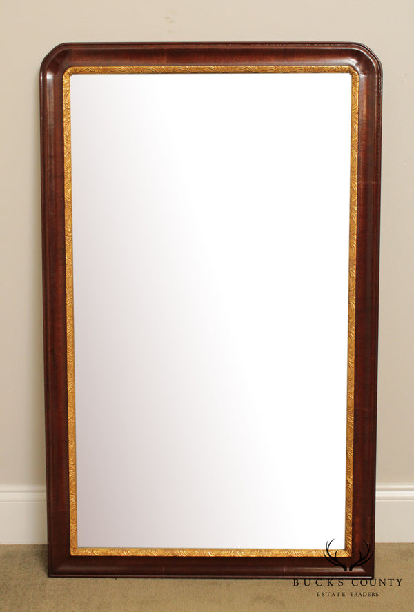Mirror Fair Queen Anne Style Mahogany Partial Gilt Beveled Wall Mirror