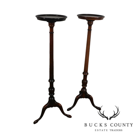 Custom Quality 1930's Solid Mahogany Queen Anne Style Pair Pedestal Plant Stands