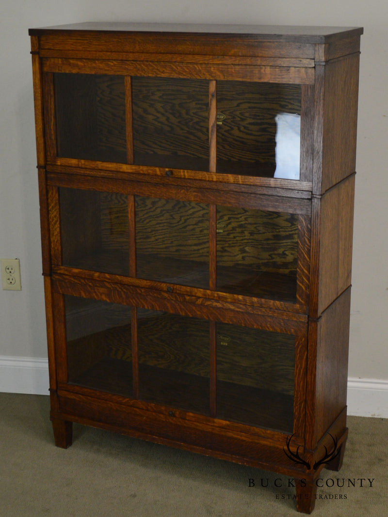 Macey Antique Mission Oak Barristers 3 Stack Bookcase