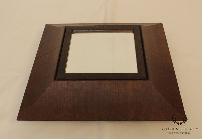 Palladio Pair Square Wood Frame Beveled Mirrors Trays