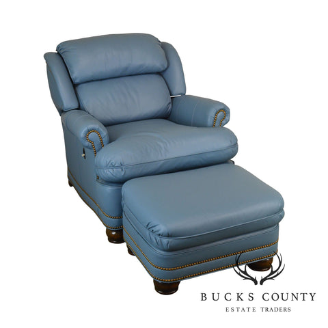 Hancock & Moore Light Blue Recliner Club Chair with Ottoman