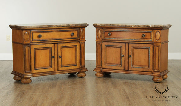 Drexel Heritage Villa Santina Large Pair Marble Top Nightstands
