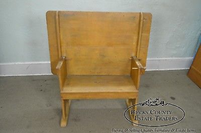 Antique Primitive Yellow Painted Pine Hutch Table Bench