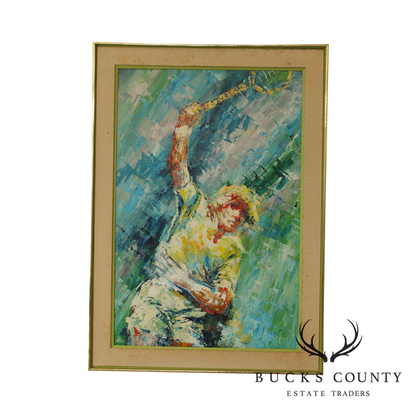 William Moninet Mid Century Expressionist Oil Painting of Tennis Player