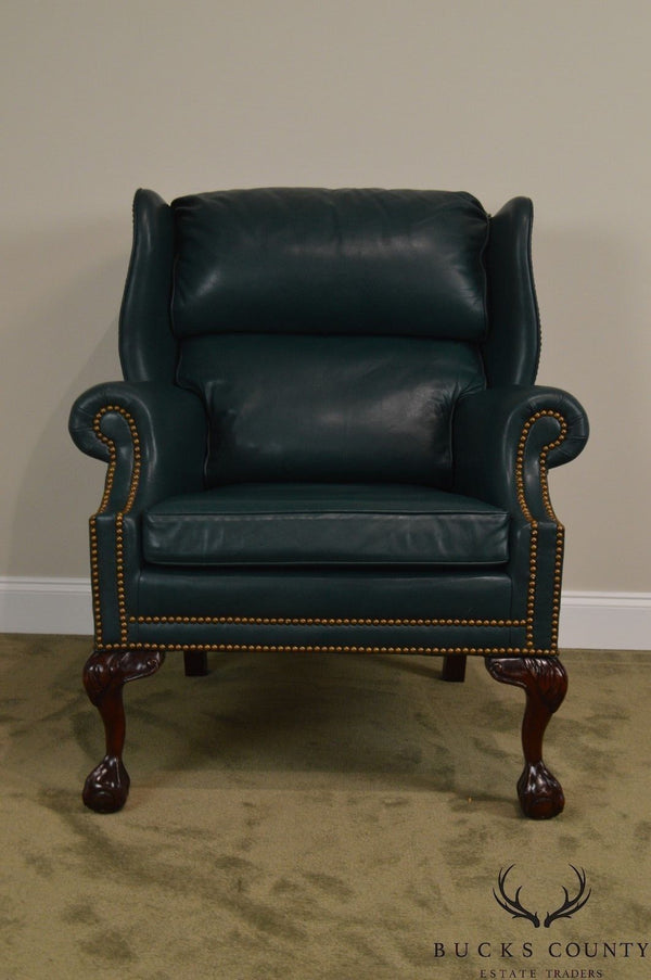 Hancock & Moore Chippendale Style Ball & Claw Mahogany Green Leather Wing Chair