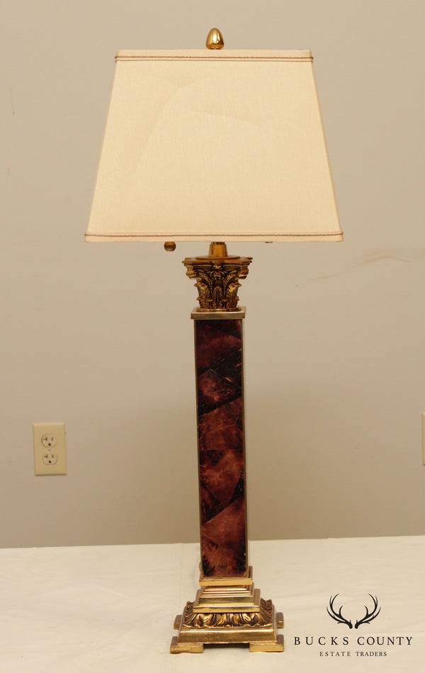 Quality Faux Tortise Shell & Brass Neo-Classical Table Lamp