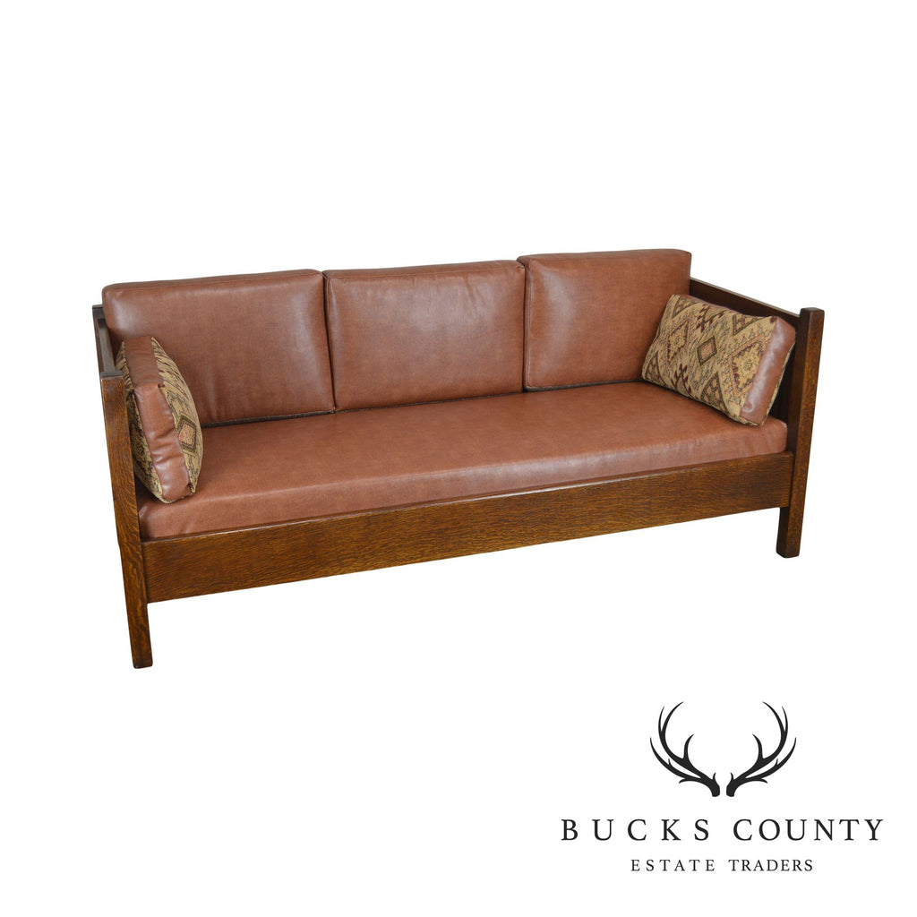 Super Stickley Mission Collection Spindle Settle Sofa W Brown Gmtry Best Dining Table And Chair Ideas Images Gmtryco