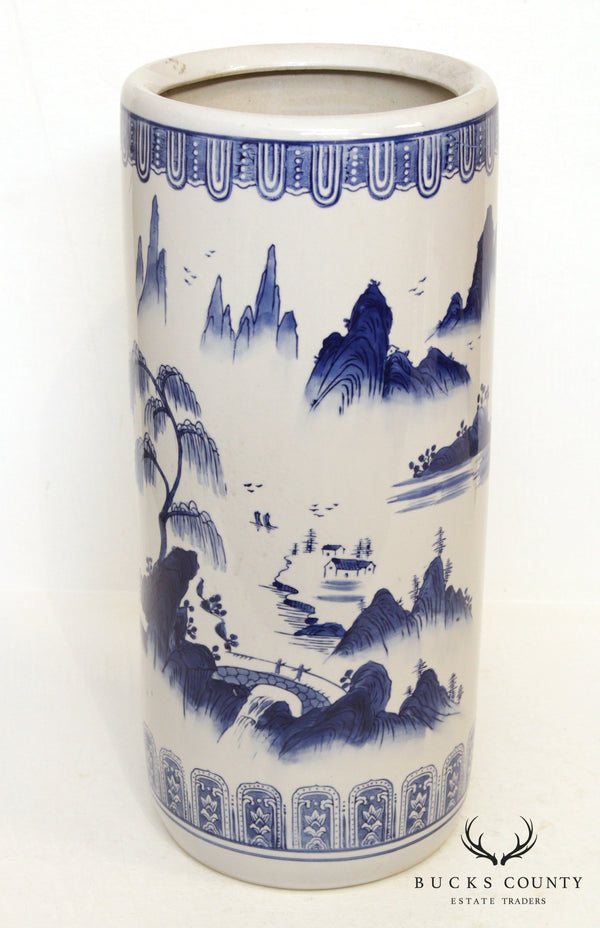 Vintage Blue & White Asian Porcelain Umbrella Stand