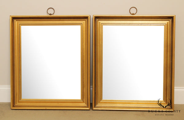 Vintage Pair Hollywood Regency Style Gold Frame Wall Mirrors
