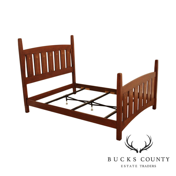 Stickley Mission Collection Oak Harvey Ellis Inlaid Queen Bed