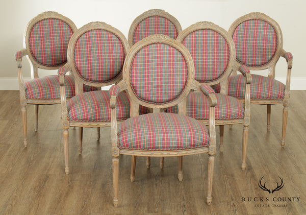 French Louis XVI Style Custom Quality Set 6 Armchairs Dining Chairs