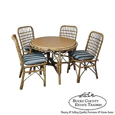 Vintage Rattan Bamboo Round Patio Sunroom Dining Table & Chairs