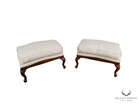 Fairfield French Louis XV Style Pair Cherry Upholstered Ottomans Benches