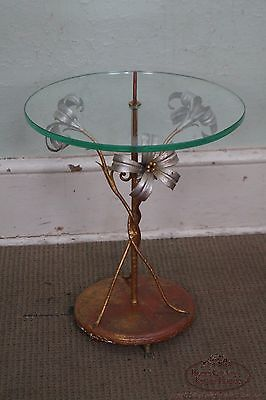 Vintage Italian Gilt Metal Flower Round Glass Top Side Table circa 1950s