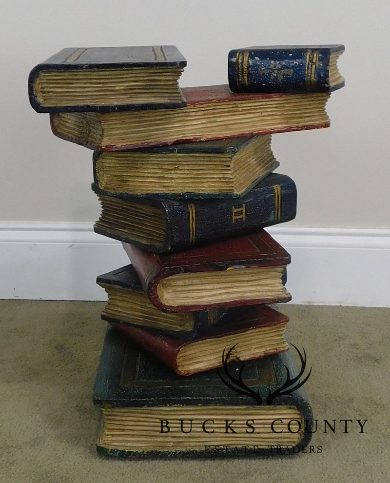 Stacked Books Hand Painted Pair Side Tables