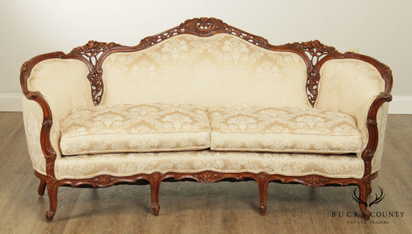 1940's French Rococo Revival Louis XV Style Carved Sofa