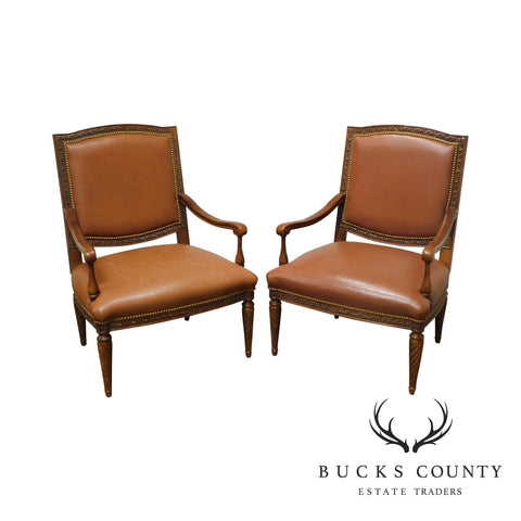 Brandon Design Louis XVI Style Tan Leather Pair Armchairs