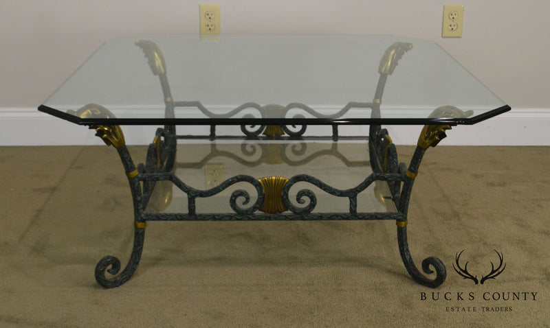 Maitland Smith Wrought Iron & Brass Glass Top Coffee Table