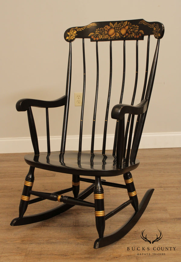 Nichols & Stone Black Painted Gold Stenciled Hitchcock Style Windsor Rocker