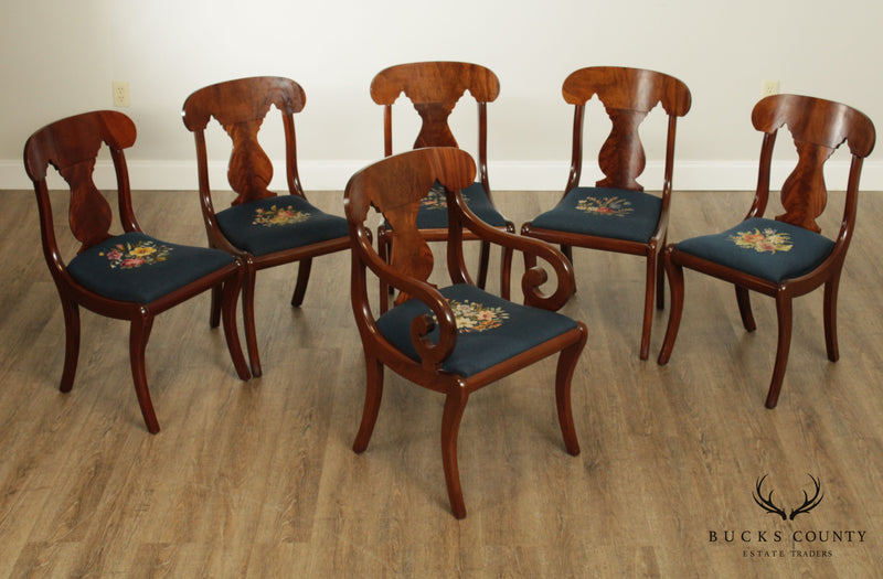 Biggs Richmond Virginia Vintage Mahogany Set 6 Empire Style Dining Chairs