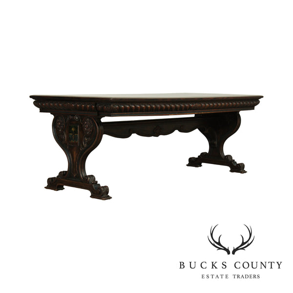 Renaissance Revival Antique Carved Oak Library Table, Desk