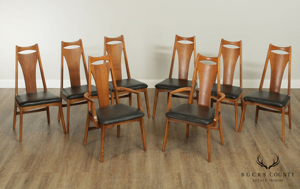 Mid Century Modern Vintage Set 8 Walnut Dining Chairs