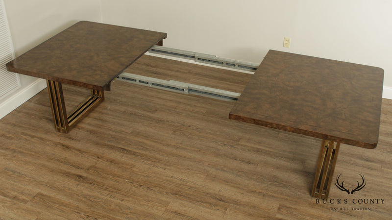 Mid Century Modern Burl Wood Brass Metal Base Dining Table