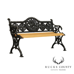 Victorian Cast Iron Garden Bench with Hunting Dog After Coalbrookdale