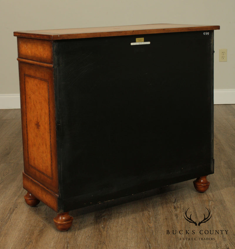 Maitland Smith Regency Style Tooled Leather Wrapped Chest of Drawers