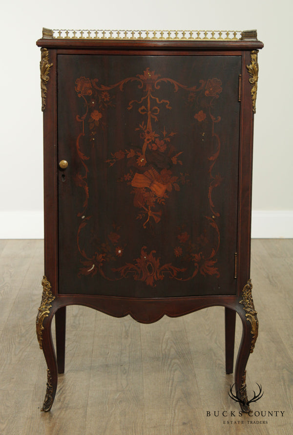 Antique French Louis XV Style Mahogany Marquetry Inlaid Sheet Music Cabinet