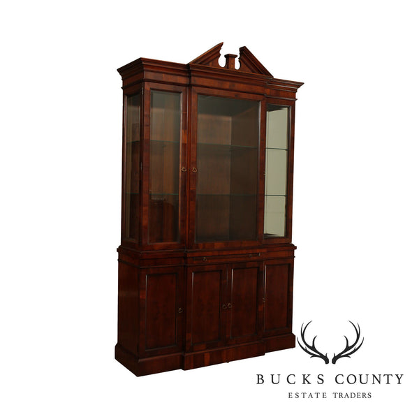 Hekman Federal Style Yew Wood Breakfront China Cabinet