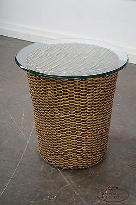 Woven Wicker Wrapped Round Glass Top Cylinder End Tables