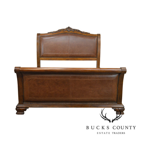 Rococo Style Impressive Carved Wood & Brown Leather King Sleigh Bed