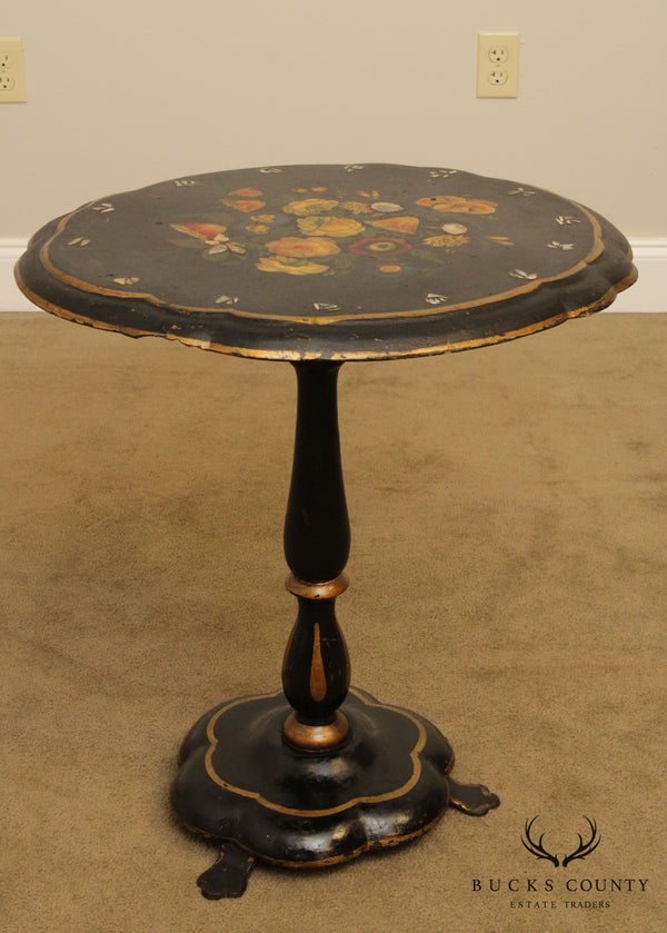 Antique Victorian Paper Mache Top Tilt Top Table