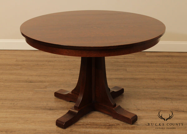 "Stickley Mission Collection 46"" Round Oak Expandable Dining Table"
