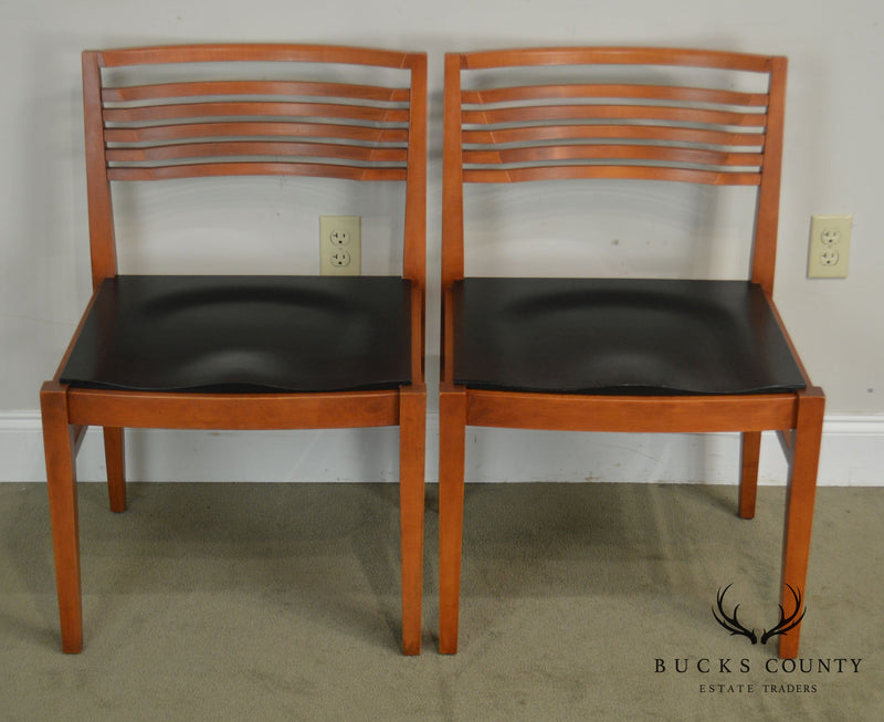 Knoll Studios Pair Ladderback Cherry Ricchio Side Chairs