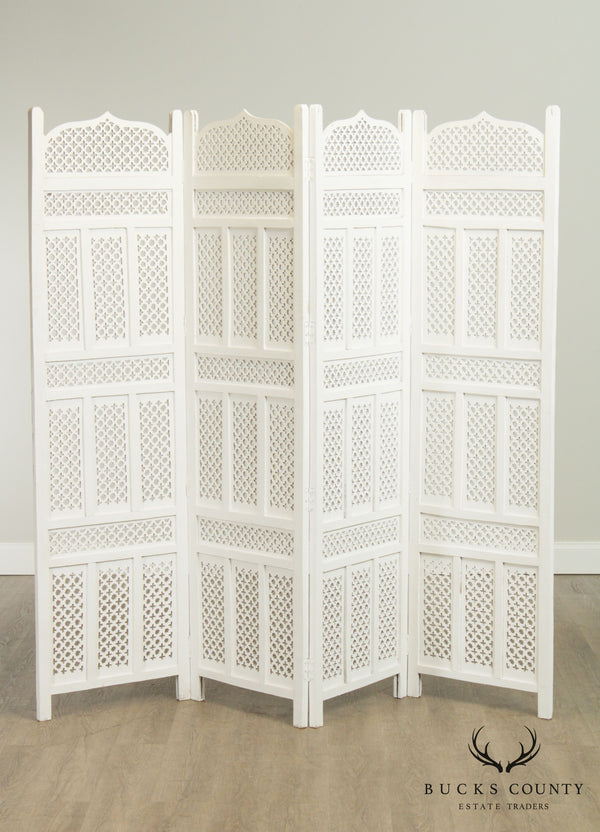Hollywood Regency Middle Eastern Style White Painted 4 Panel Room Divider