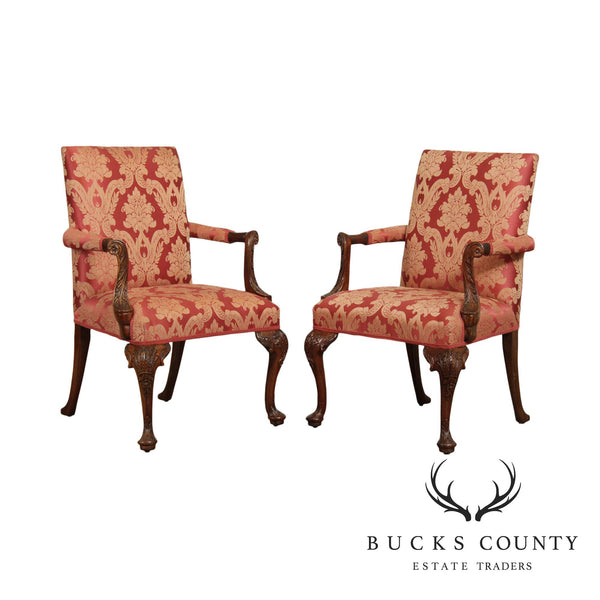 Queen Anne Style Carved Mahogany Custom Upholstered Pair Armchairs