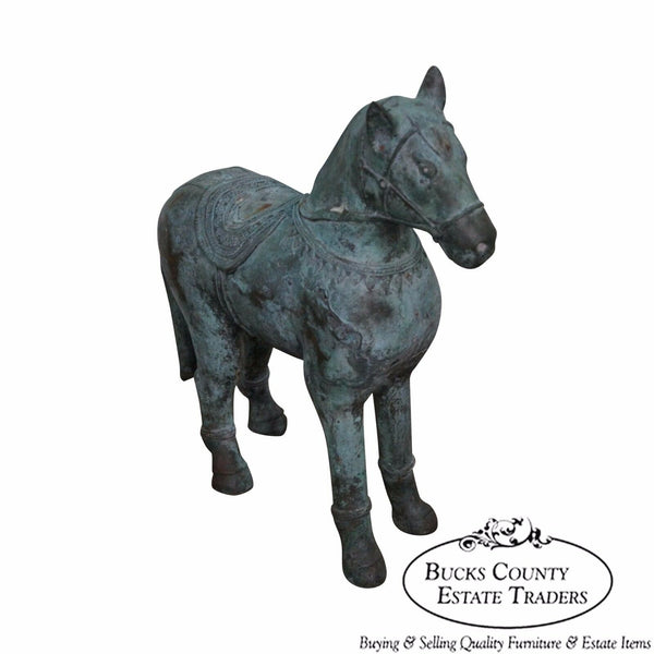 Vintage Antique Verde Bronze Chinese Horse Statue