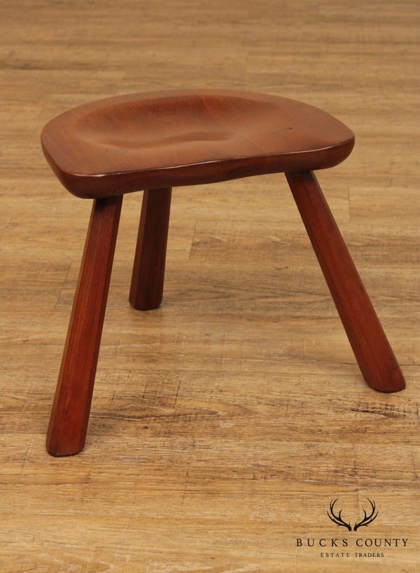 Vintage Hand Crafted Solid Cherry Wood 3 Legged Stool