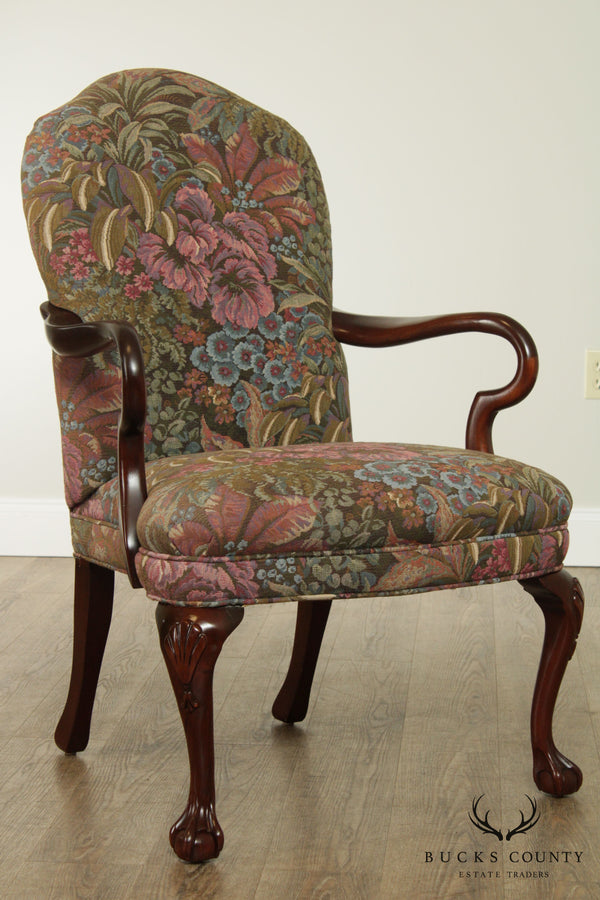 Sherrill Tapestry Upholstered Mahogany Queen Anne Armchair