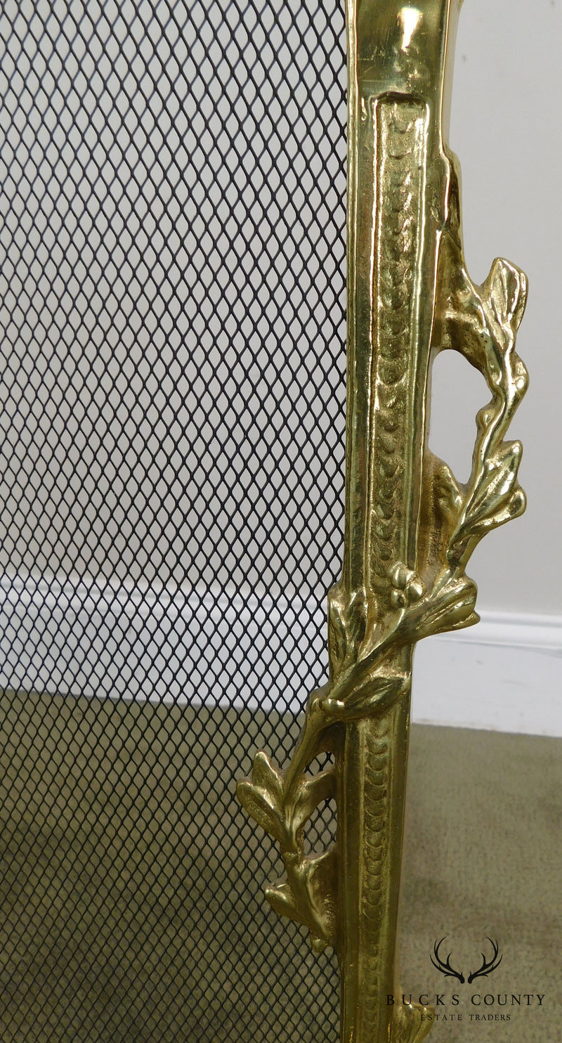 French Louis XV Style Brass Fire Screen